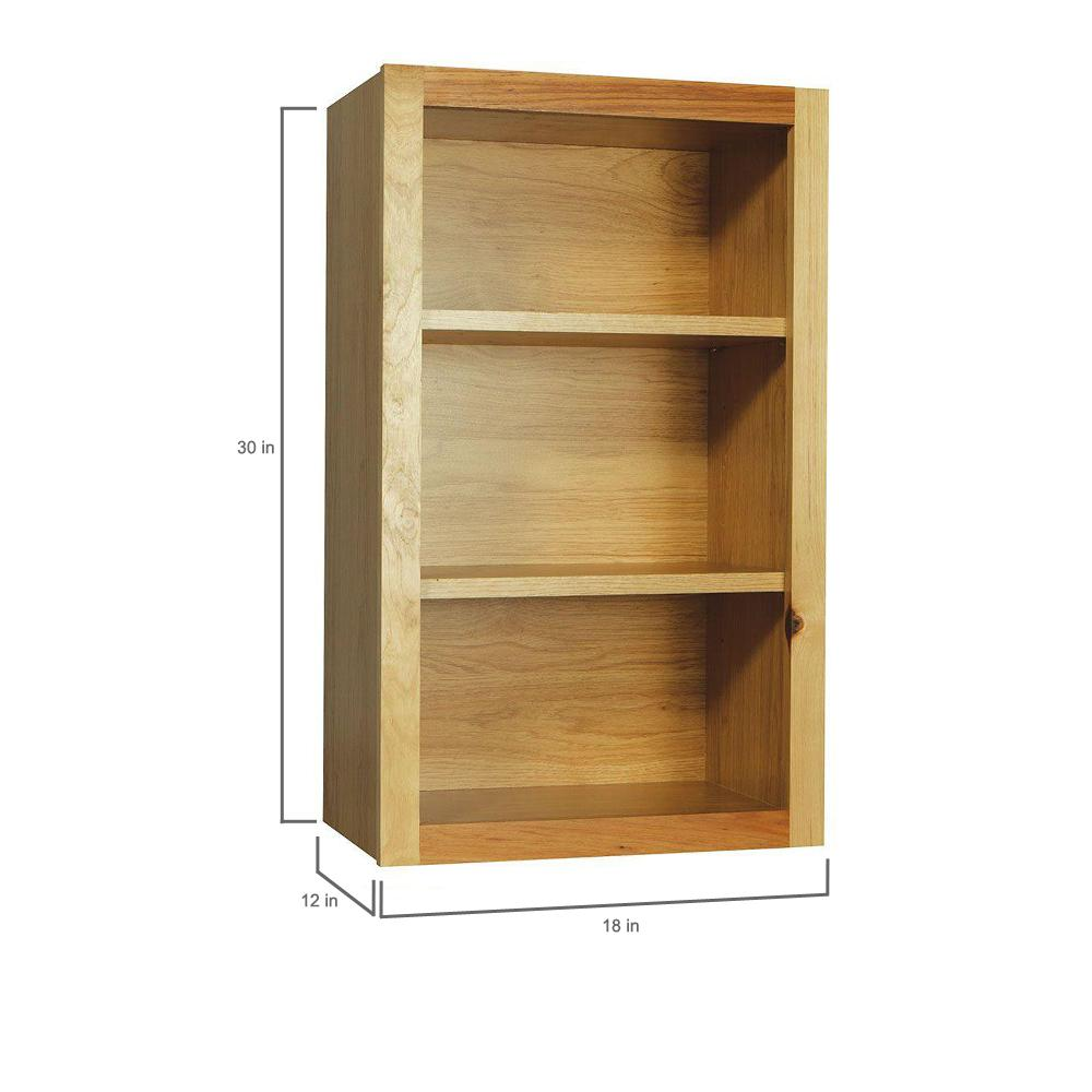 Hampton Bay Hampton Assembled 18x30x12 in. Wall Flex Kitchen Cabinet with  Shelves and Dividers in Natural Hickory