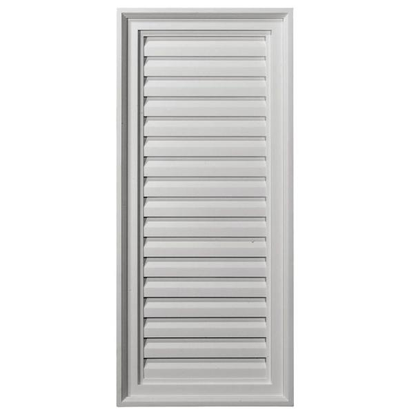 16 in. x 36 in. Rectangular Primed Polyurethane Paintable Gable Louver Vent
