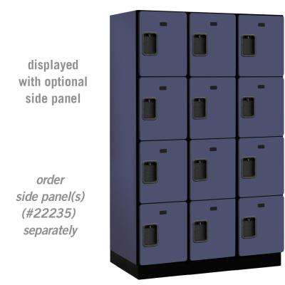 24000 Series 4 Tier 21 in. D 12 Compartments Extra Wide Designer Wood Locker in Blue