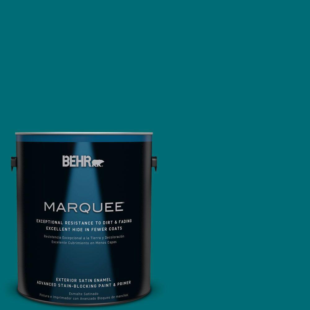 1 gal. #MQ6-35 Teal Motif Satin Enamel Exterior Paint