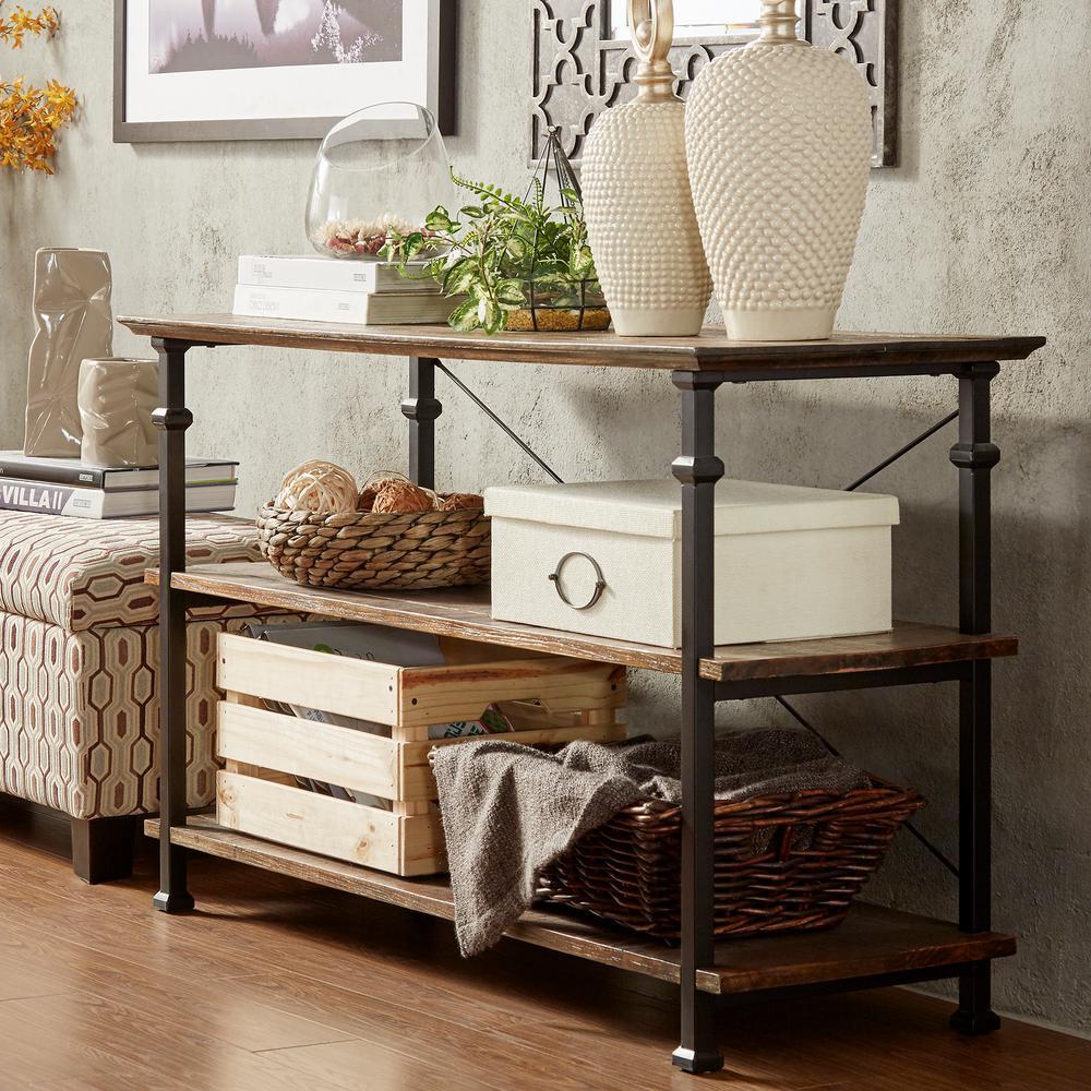 Brown Rustic Elegant Detailed Leg Storage Tv Stand