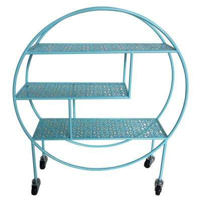 7 in. x 23.25 inMetal Storage Rack with Wheel in Blue