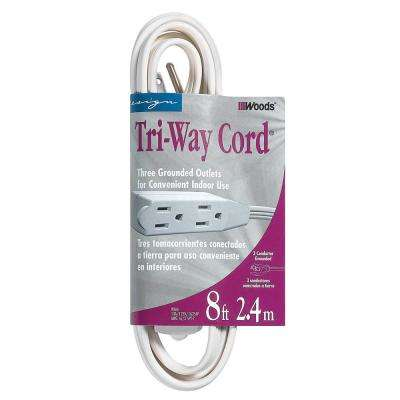 8 ft. 16/3 SPT-2 Multi-Outlet (3) Indoor Light-Duty Extension Cord with Cube Power Tap