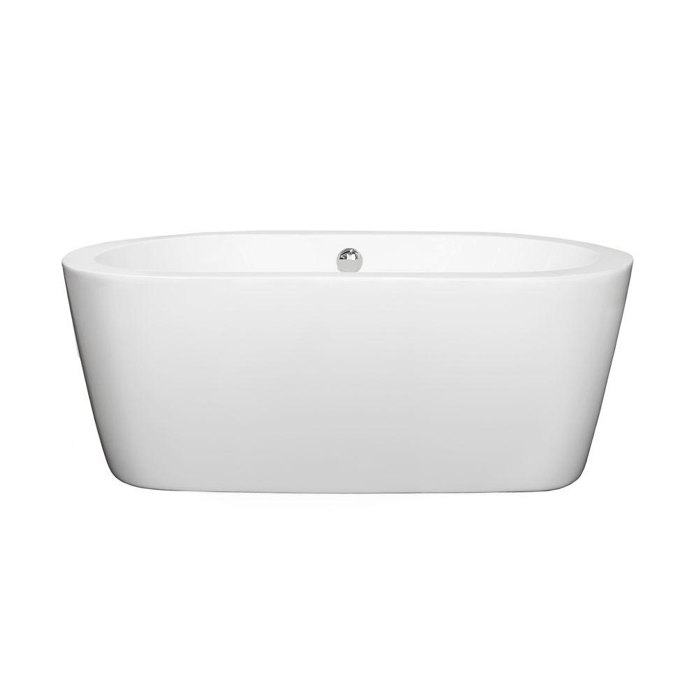Mermaid 5 ft. Center Drain Soaking Tub in White