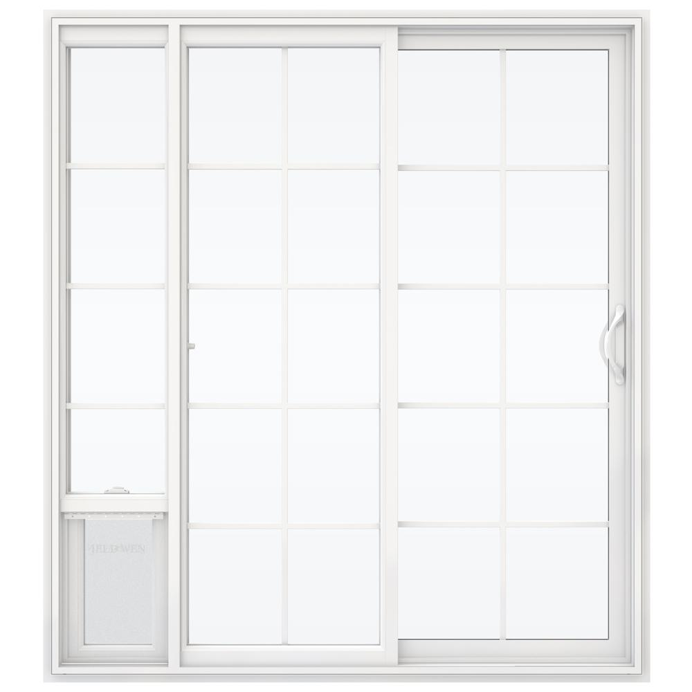 jeld wen 72 in x 80 in v 2500 white vinyl right hand 15 lite sliding patio door w large pet. Black Bedroom Furniture Sets. Home Design Ideas