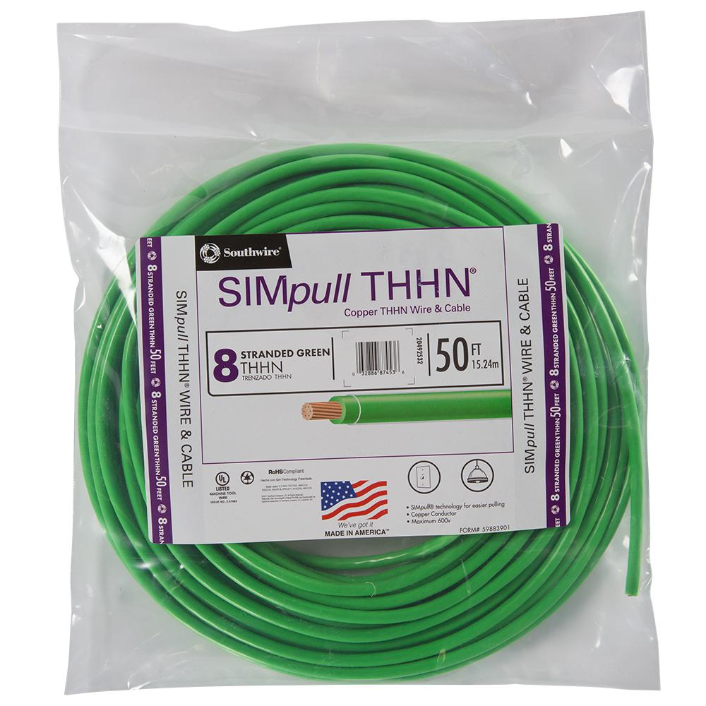 Southwire 50 ft  6 Green Stranded CU SIMpull THHN Wire