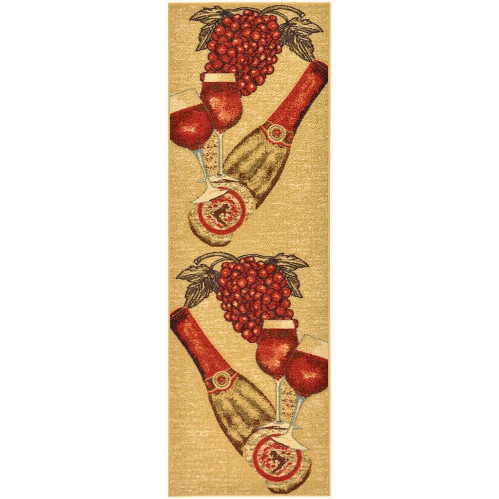 Ottomanson Siesta Kitchen Collection Wine Design Beige 1 ft. 8 in. x 4 ft. 11 in. Runner