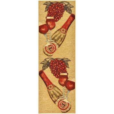 Siesta Kitchen Collection Wine Design Beige 1 ft. 8 in. x 4 ft. 11 in. Runner
