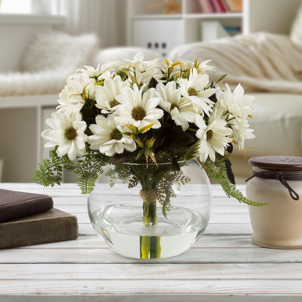 Pure Garden 9 In Daisy Artificial Floral White Arrangement