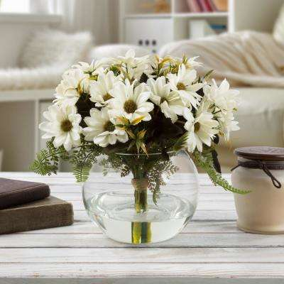 9 in. Daisy Artificial Floral White Arrangement