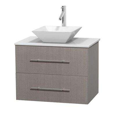 Centra 30 in. Vanity in Gray Oak with Solid-Surface Vanity Top in White and Porcelain Sink