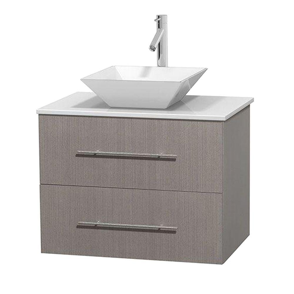 Wyndham Collection Centra 30 in. Vanity in Gray Oak with Solid-Surface Vanity Top in White and Porcelain Sink