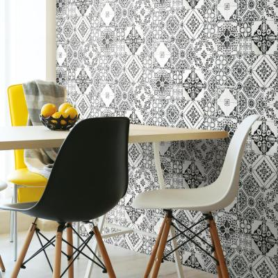 28.18 sq. ft. Black Mediterranean Tile Peel and Stick Wallpaper