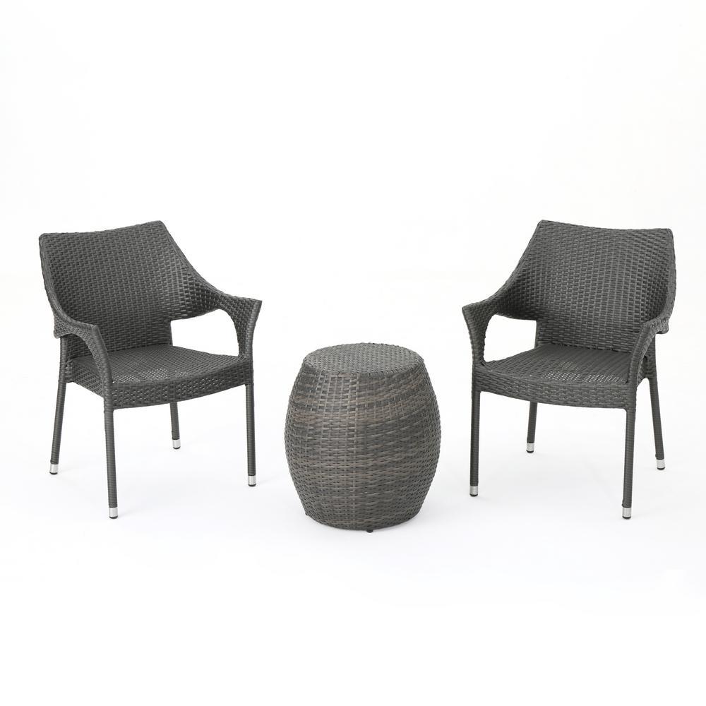 Pierce Grey 3-Piece Wicker Patio Conversation Seating Set