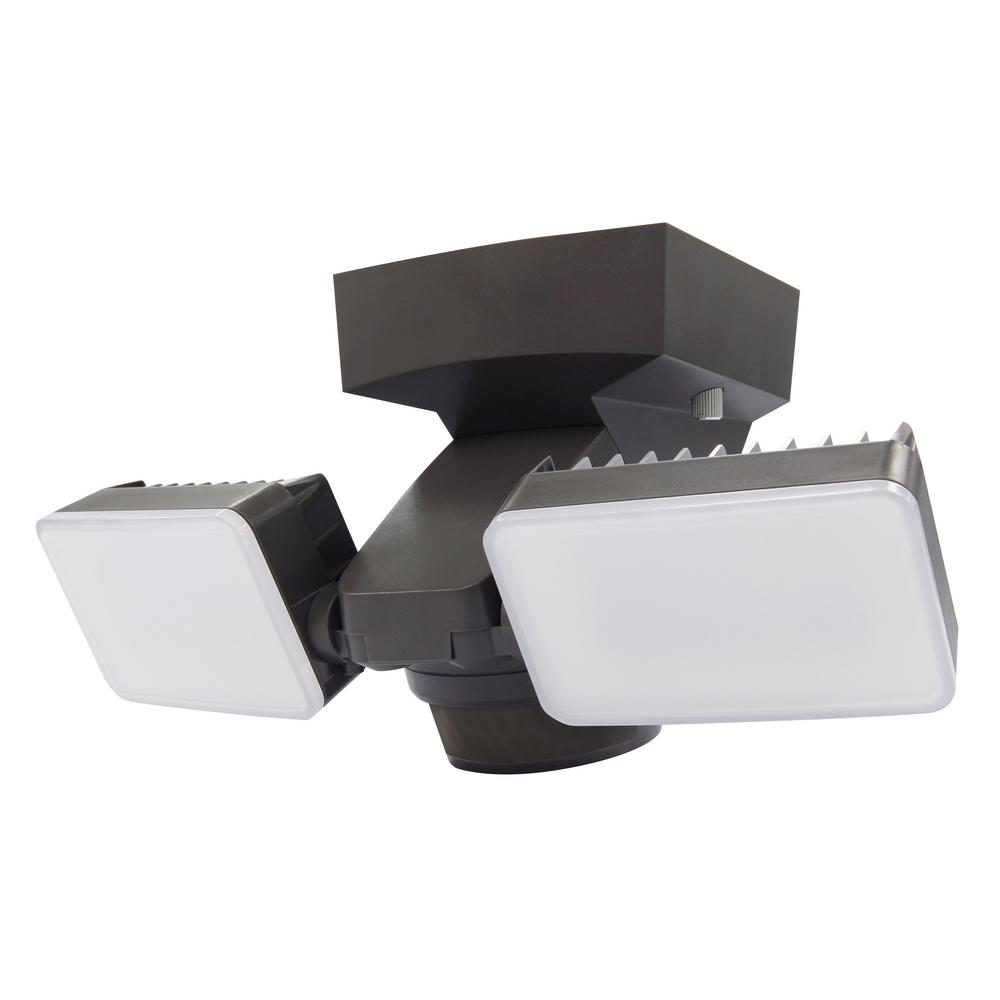 180 Degree Bronze Motion Activated Outdoor Integrated LED Twin Flood Lights