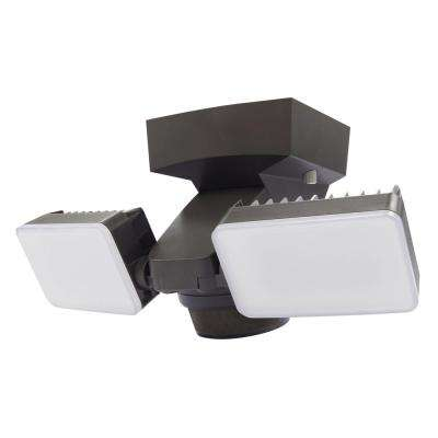 180 Degree Bronze Motion Activated Outdoor Integrated LED Twin Flood Lights with 1500 Lumens