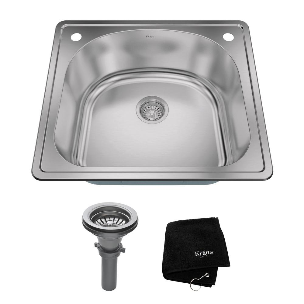 Drop-In Stainless Steel 25 in. 2-Hole Single Bowl Kitchen Sink Kit