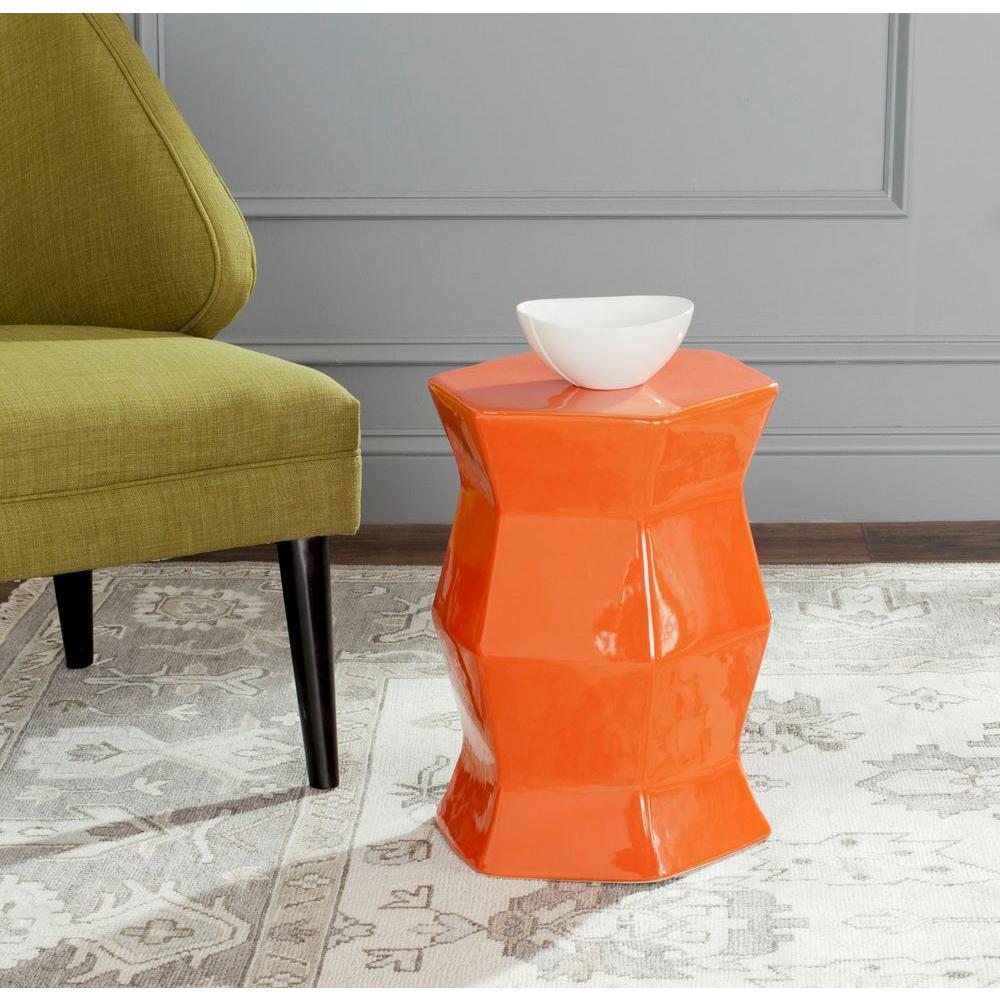 Safavieh Modern Hexagon Orange Patio Stool