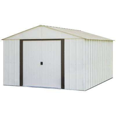 Arlington 10 ft. W x 12 ft. D 2-Tone White Galvanized Metal Storage Shed with Floor Frame Kit