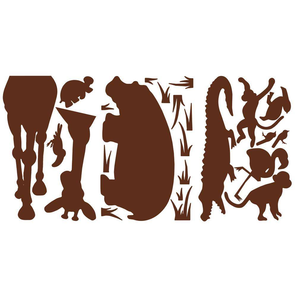 null 27 in. x 40 in. Animal Silhouettes (Brown) 24-Piece Peel and Stick Giant Wall Decals