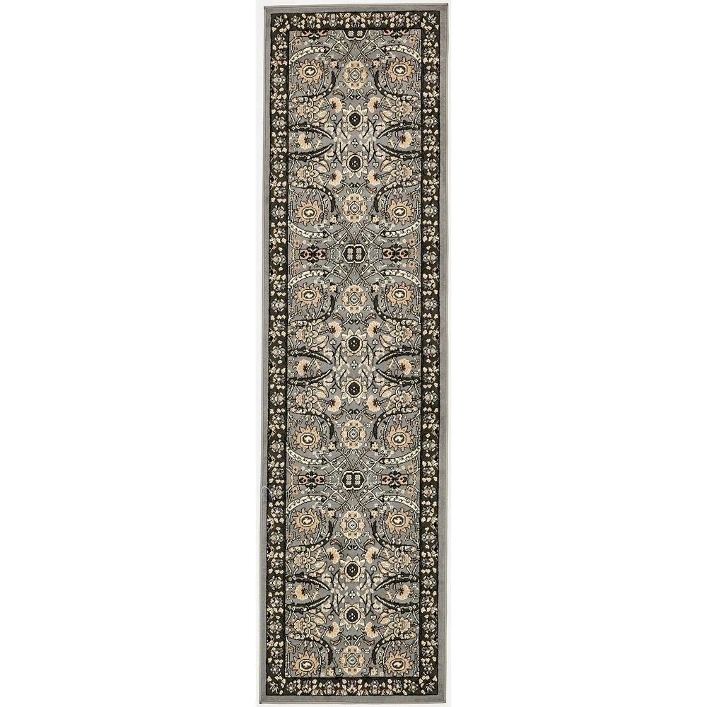 Unique Loom Isfahan Dark Gray 2 Ft 7 In X 10 Runner
