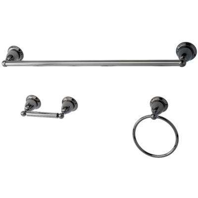 Victorian 3-Piece Bathroom Accessory Set in Black Stainless Steel