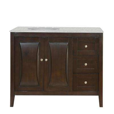 45 in. W x 22 in. D Vanity in Dark Walnut with Marble Vanity Top in Carrara White with White Basin