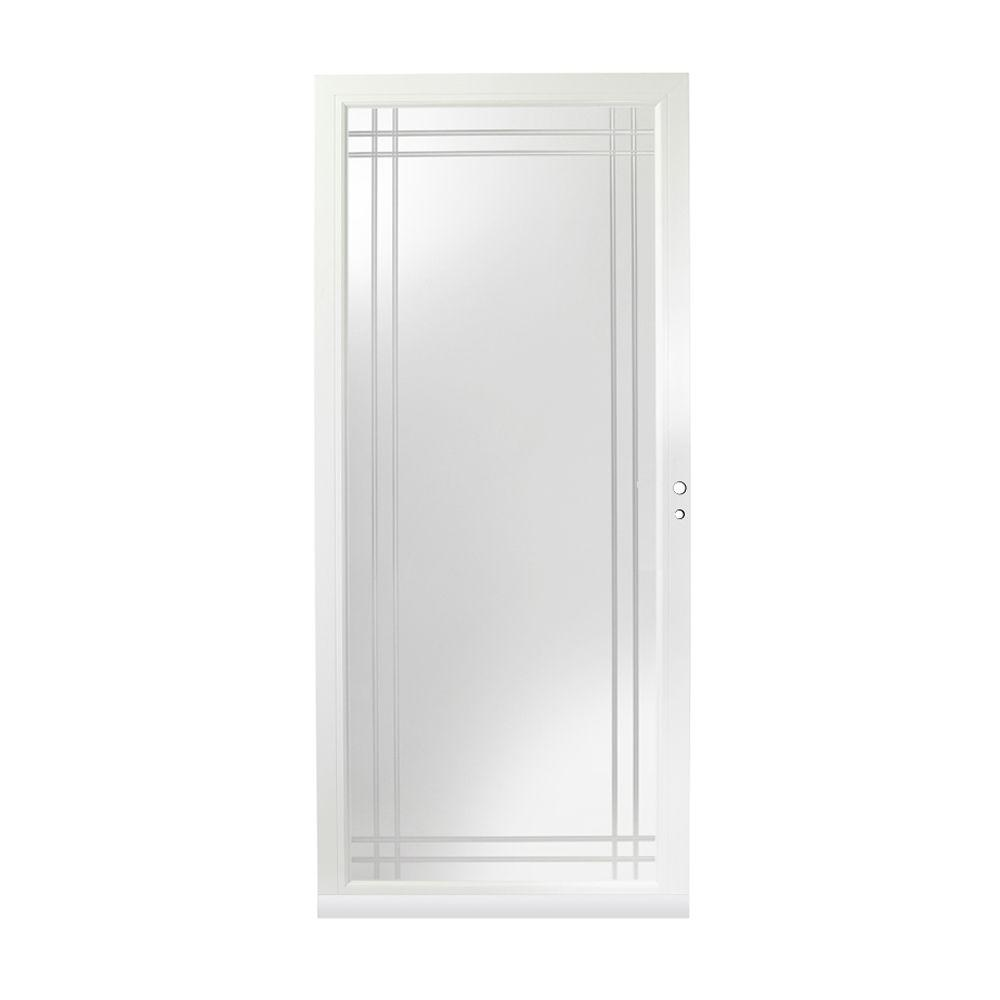 Andersen 36 in. x 80 in. 3000 Series White Right-Hand Full view Etched Glass Easy Install Aluminum Storm Door