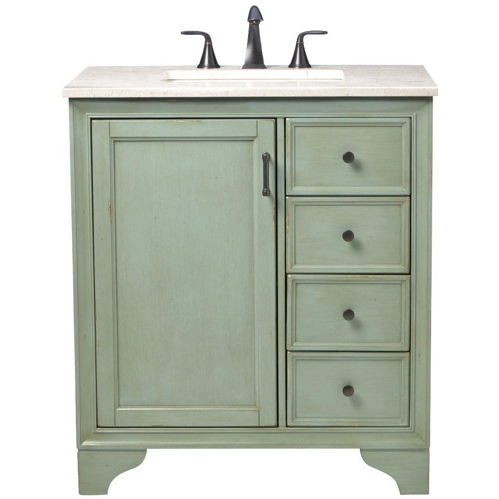 Home Decorators Collection Hazelton 31 in. W x 22 in. D Bath Vanity in Antique Green with Marble Vanity Top in Beige