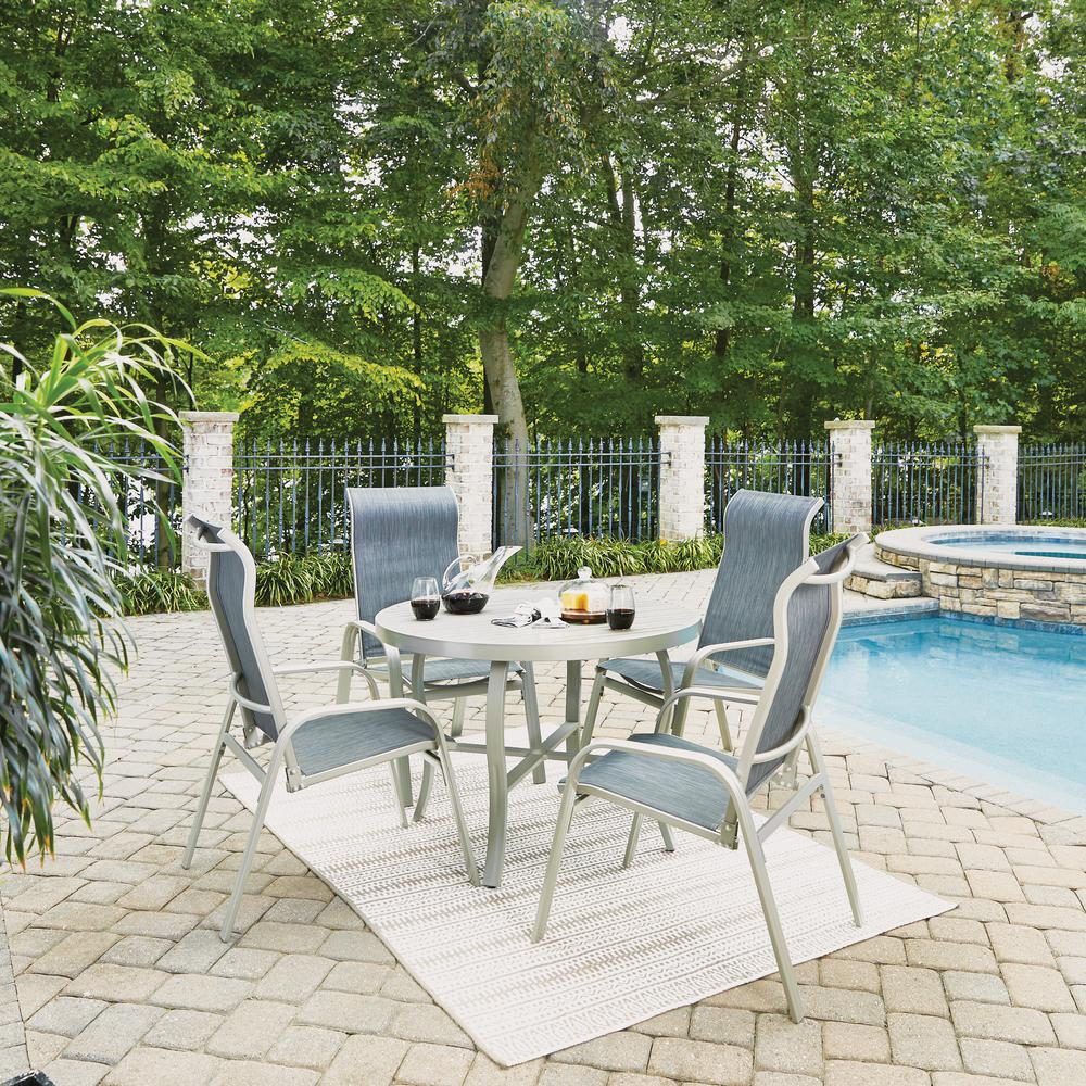 South Beach Gray 5-Piece Aluminum Round Outdoor Dining Set