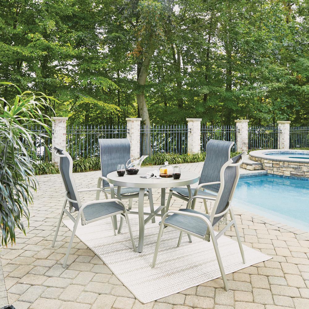 South Beach Gray 5-Piece Aluminum Round Outdoor Dining Set