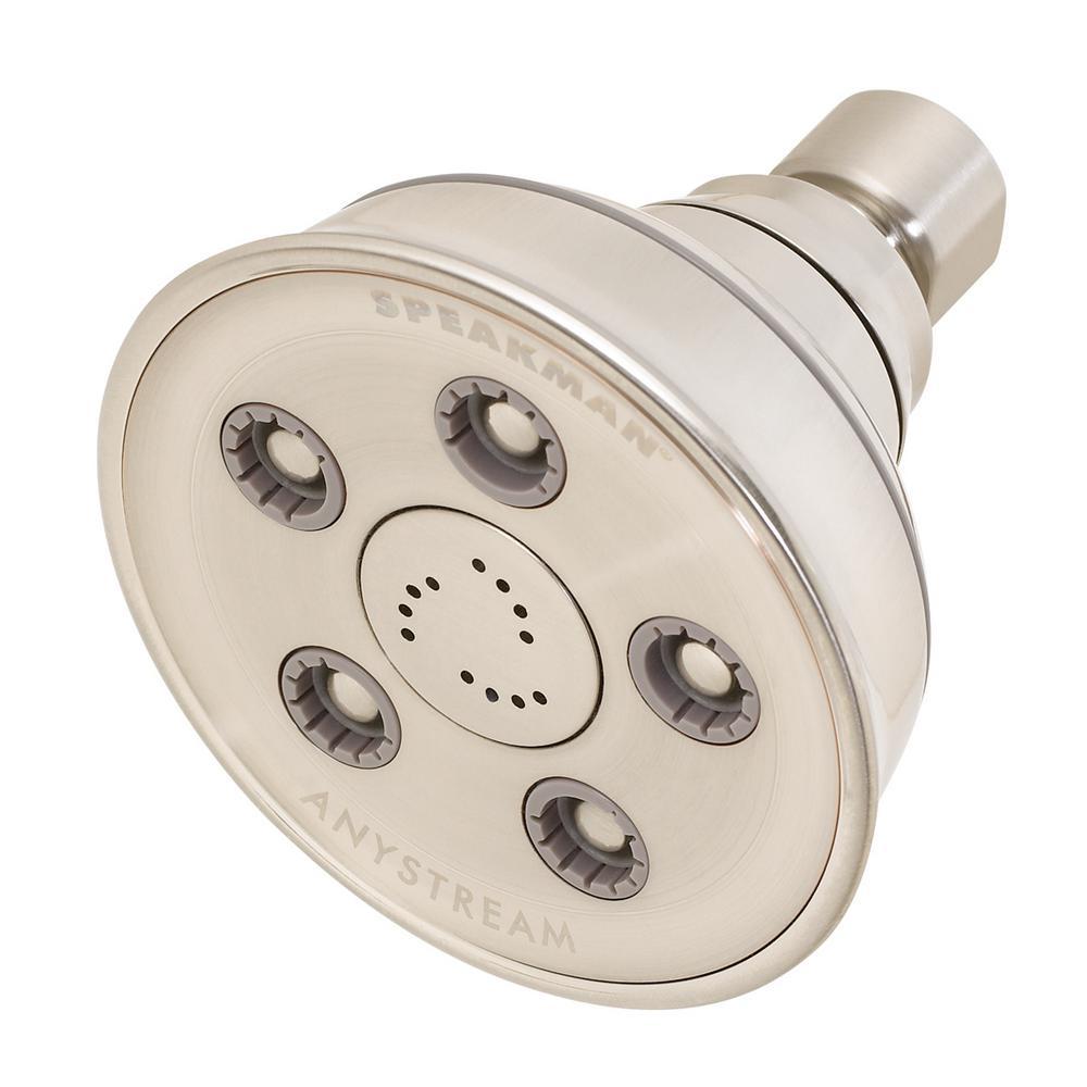 Anystream Caspian 3-Spray 3.75 in. 2.0 GPM Fixed Showerhead in Brushed Nickel