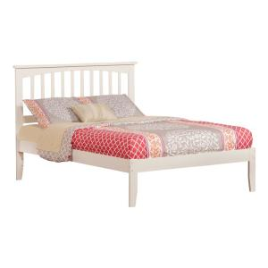 Mission White Full Platform Bed with Open Foot Board