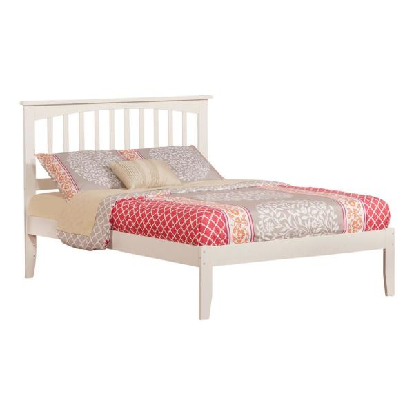 Atlantic Furniture Mission White Full Platform Bed With Open Foot Board