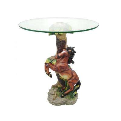 24 in. Glass Top Jumping Horse End Table
