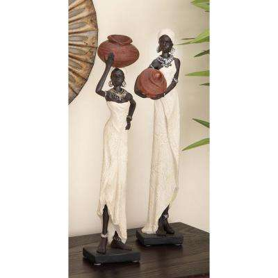 Decorative Traditional African Lady Sculptures in Colored Polystone (2-Pack)