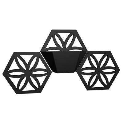 10 in. x 12 in. Hexagon Black Plastic Wall Planter Expansion Kit (Set of 3)