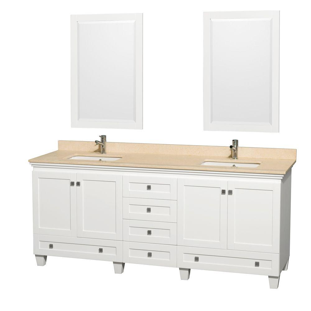 Wyndham Collection Acclaim 80 in. Double Vanity in White with Marble Vanity Top in Ivory, Square Sinks and 2 Mirrors