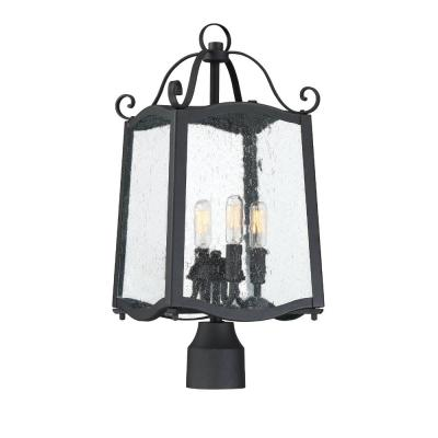 Glenwood 4-Light Black Outdoor Post Lantern with Clear Seedy Glass Shade