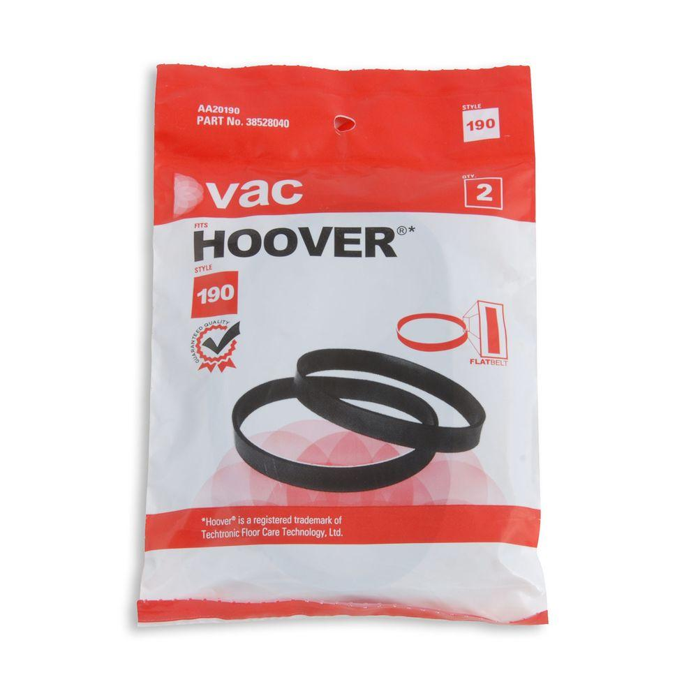 YOW Vacuum Hoover Type 190 Belts (2-Pack) Genuine Hoover vacuum belts help to extend the life of your vacuum cleaner. Hoover belts keep your vacuum cleaners brush roll rotating, which allows the vacuum to clean carpeting and whisk away dirt. Keep your home Hoover clean by replacing your vacuum cleaner belt regularly and always have a spare belt around just in case.