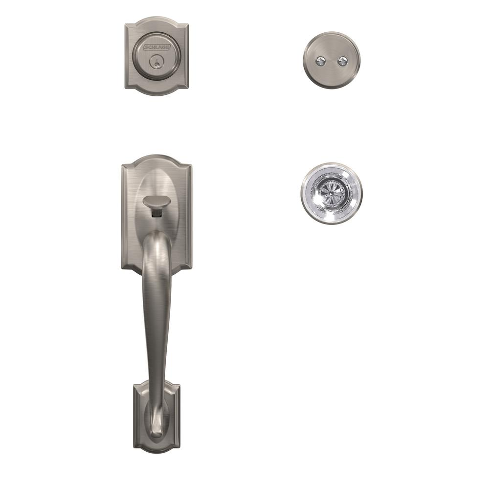 Schlage Camelot Satin Nickel Dummy Door Handleset With