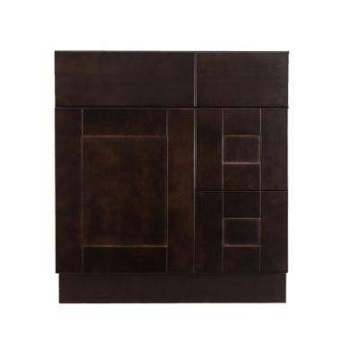 Anchester Assembled 30 x 21 x 33 in. Bath Vanity Sink Base Cabinet with 1 Door 2 Right Drawers in Dark Espresso Finish
