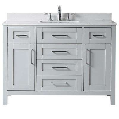Riverdale 48 in. W x 21 in. D Vanity in Dove Grey with a Marble Vanity Top in White with White Sink