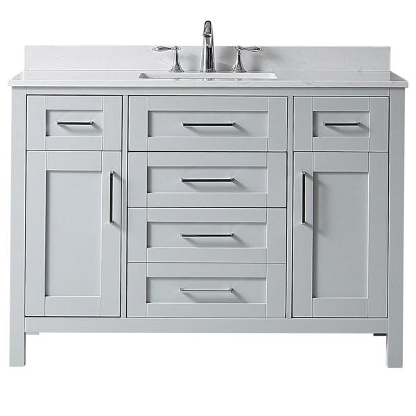 Riverdale 48 in. W x 21 in. D Vanity in Dove Grey with a Cultured Marble Vanity Top in White with White Sink