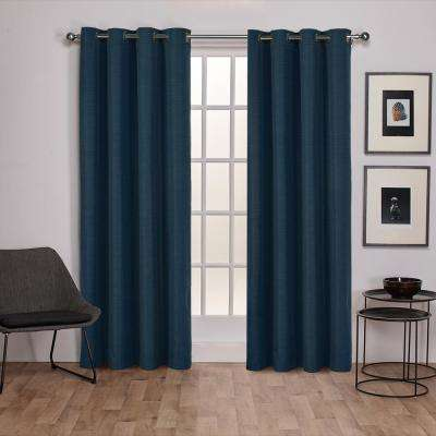 Raw Silk 54 in. W x 96 in. L Woven Blackout Grommet Top Curtain Panel in Mallard Blue (2 Panels)