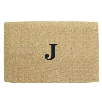 No Border 30 in. x 48 in. Heavy Duty Coir Monogrammed J Door Mat