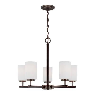 Oslo 5-Light Burnt Sienna Contemporary Chandelier with Cased Opal Etched Glass Shades