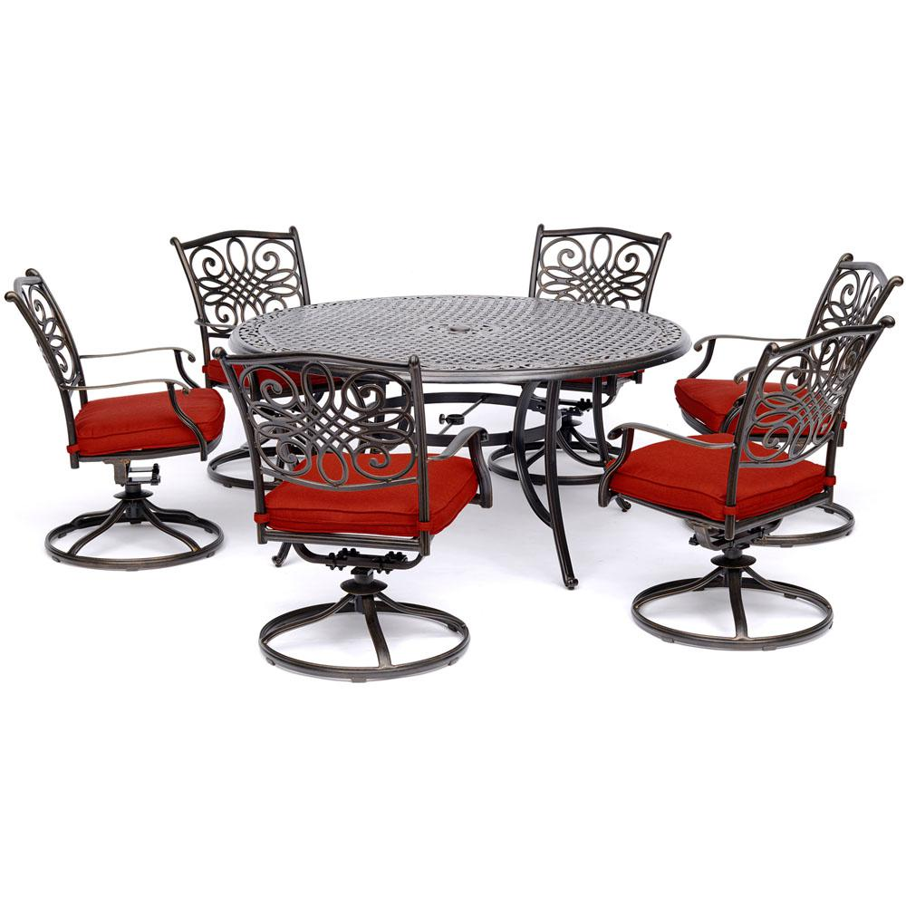 Hanover Traditions 7 Piece Aluminum Outdoor Dining Set With 6 Swivel Rockers Red Cushions And Cast Top Table