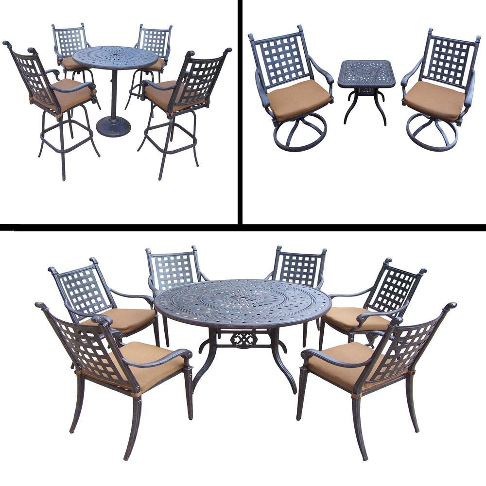 Belmont 15-Piece Aluminum Outdoor Bar Height Dining Set with Sunbrella Brown Cushions