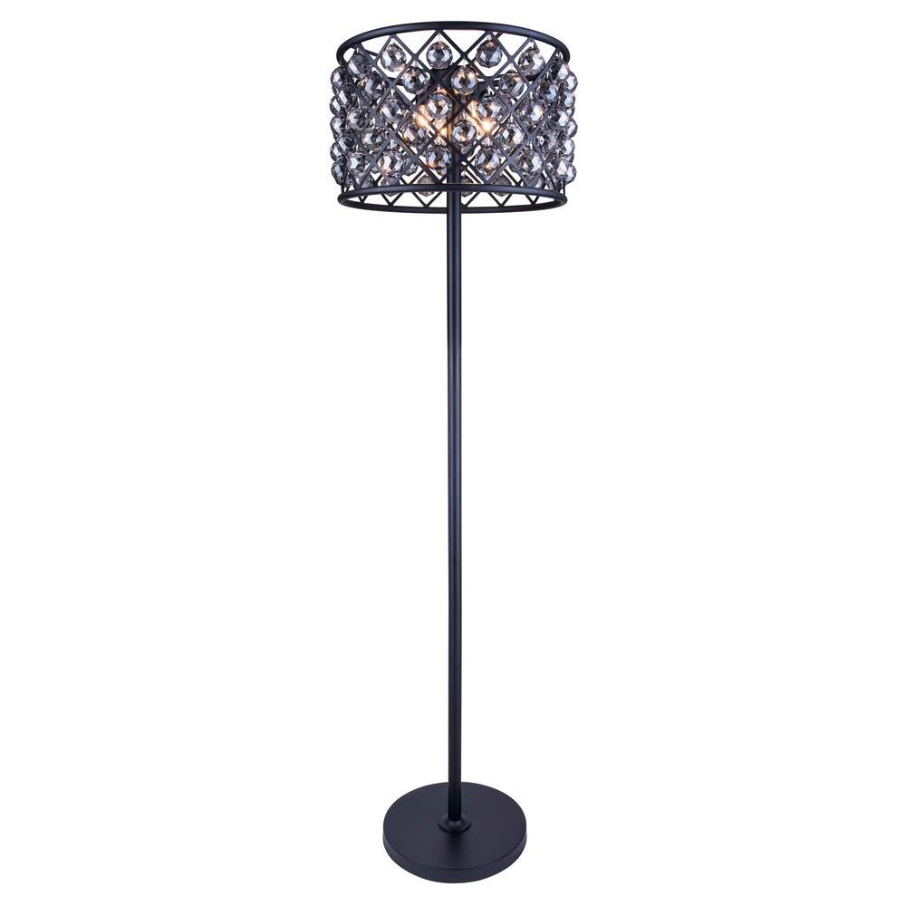 Madison 72 in. Mocha Brown Floor Lamp with Silver Shade Grey